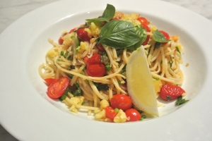 Pasta with garden herbs and vegetables small